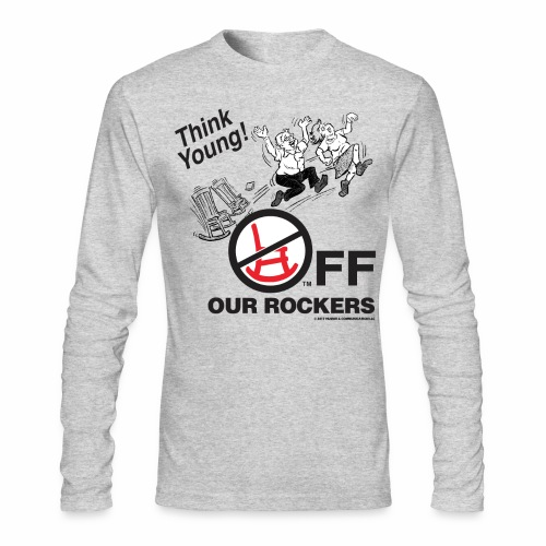 Men's Long Sleeve T-Shirt by Next Level - Off Our Rockers design printed on grey long-sleeved shirt