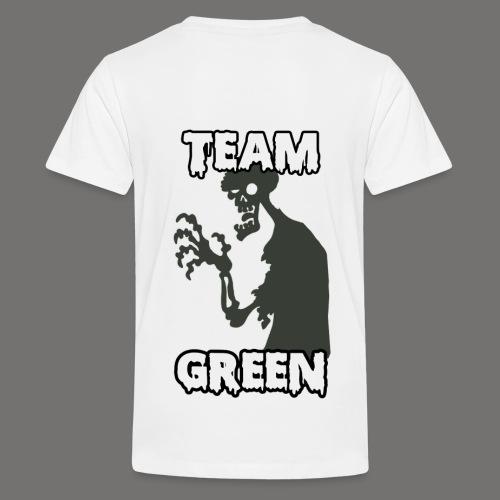 Greenish Shirt Zombie TeamGreen Back (Kids) - Kids' Premium T-Shirt