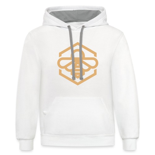 Golden Bee on White - Contrast Hoodie
