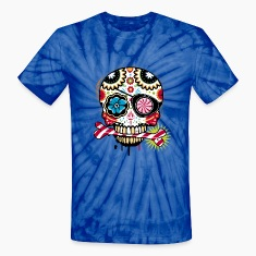 Skull with eye patch and candy cane T-Shirts