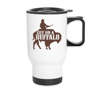 Guy on a Buffalo - Travel Mug