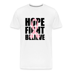 Hope Fight Believe pink ribbon unisex/men's v-neck tshirt - Men's Premium T-Shirt