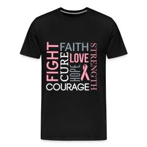 Fight Faith Strength pink ribbon unisex/men's v-neck tshirt - Men's Premium T-Shirt