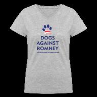 Women's T-Shirts ~ Women's V-Neck T-Shirt ~ Official Dogs Against Romney