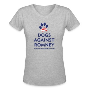 Official Dogs Against Romney Paw Women's  V-Neck T-Shirt - Women's V-Neck T-Shirt