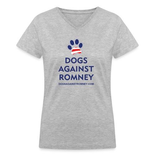 Official Dogs Against Romney Paw Women's  V-Neck T-Shirt - Women's V-Neck T-Shirt