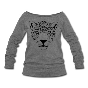 animal t-shirt jaguar cougar cat puma tiger panther leopard cheetah lion - Women's Wideneck Sweatshirt