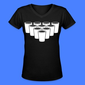 Beer Pong Cups - stayflyclothing.com Women's T-Shi - Women's V-Neck T-Shirt