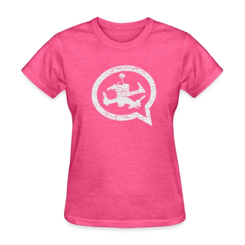 Women's Distressed Quad Talk Podcast T-Shirt-Pink - Women's T-Shirt