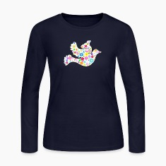White Dove of Flowers and Peace Long Sleeve Shirts