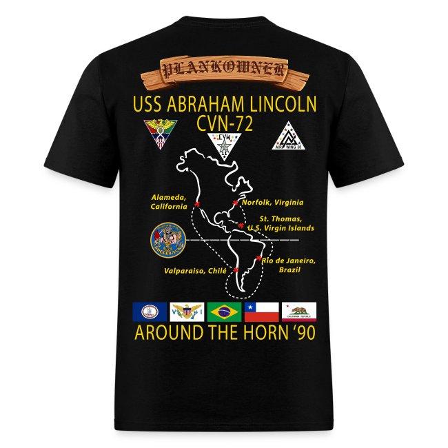 USS ABRAHAM LINCOLN CVN-72 AROUND THE HORN CRUISE SHIRT - PLANKOWNER