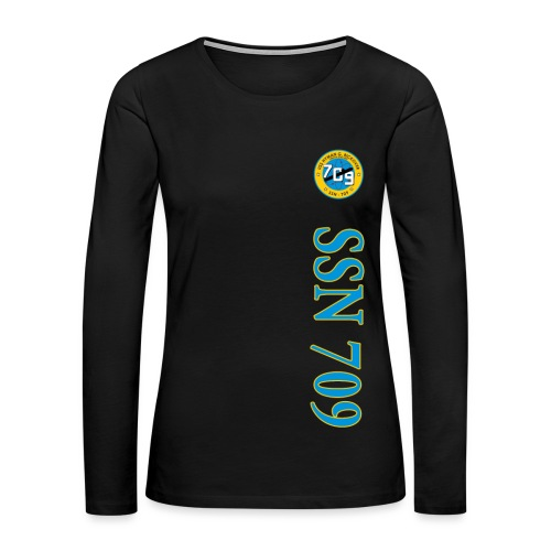 USS HYMAN G RICKOVER SSN-709 VERTICAL STRIPE LONG SLEEVE - WOMENS - Women's Premium Long Sleeve T-Shirt