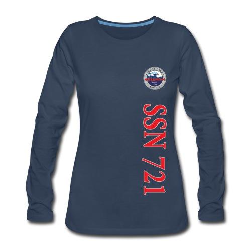 USS CHICAGO SSN-721 VERTICAL STRIPE LONG SLEEVE - WOMENS - Women's Premium Long Sleeve T-Shirt