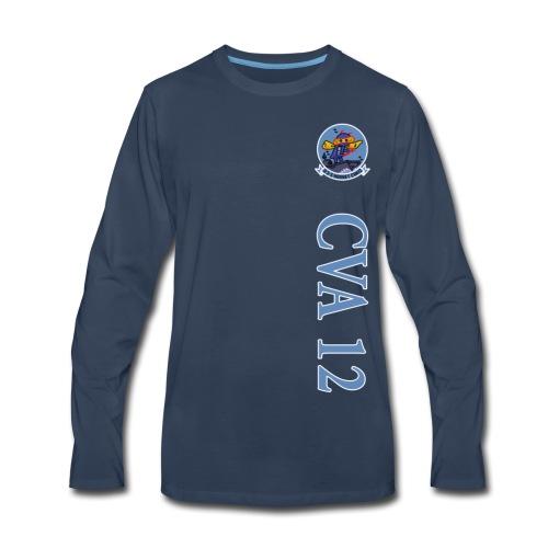 USS HORNET CVA-12 VERTICAL STRIPE LONG SLEEVE - Men's Premium Long Sleeve T-Shirt