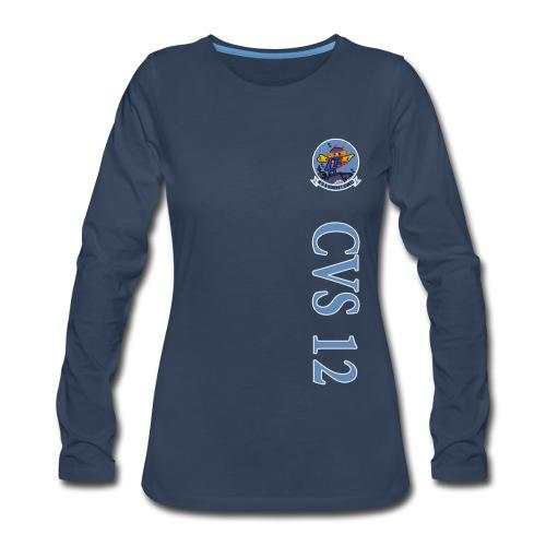 USS HORNET CVS-12 VERTICAL STRIPE LONG SLEEVE - WOMENS - Women's Premium Long Sleeve T-Shirt