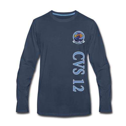 USS HORNET CVS-12 VERTICAL STRIPE LONG SLEEVE - Men's Premium Long Sleeve T-Shirt