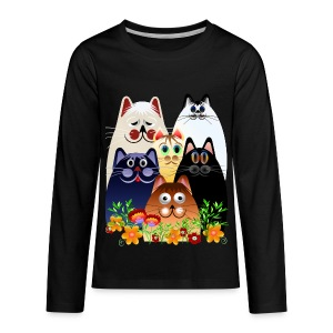 GARDEN CLOWDER of CATS - Kids' Premium Long Sleeve T-Shirt