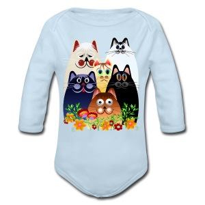 GARDEN CLOWDER of CATS - Long Sleeve Baby Bodysuit