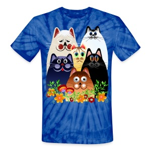 GARDEN CLOWDER of CATS - Unisex Tie Dye T-Shirt