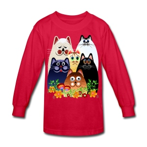 GARDEN CLOWDER of CATS - Kids' Long Sleeve T-Shirt
