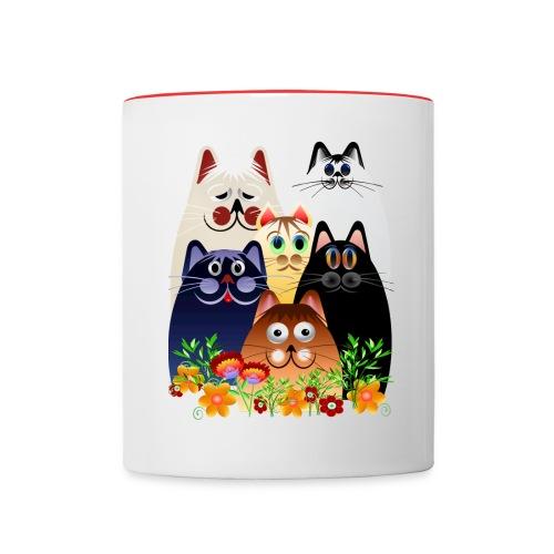 GARDEN CLOWDER of CATS - Contrast Coffee Mug