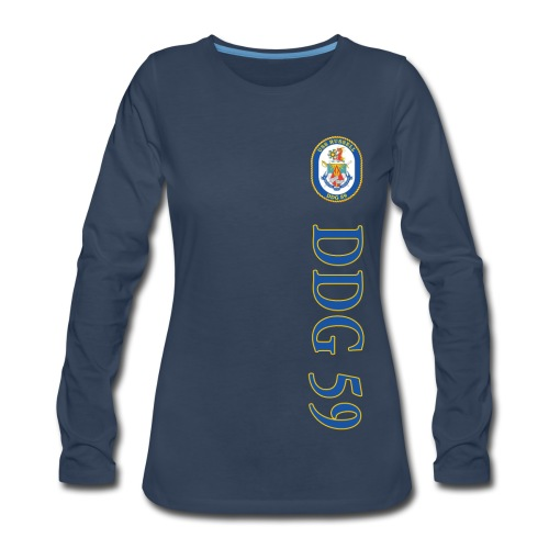 USS RUSSELL DDG-59 VERTICAL STRIPE LONG SLEEVE - WOMENS - Women's Premium Long Sleeve T-Shirt