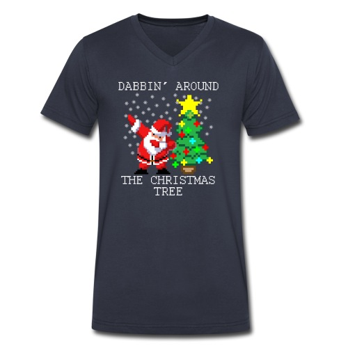 Dabbin' Around The Christmas Tree T-Shirts - Men's V-Neck T-Shirt by Canvas
