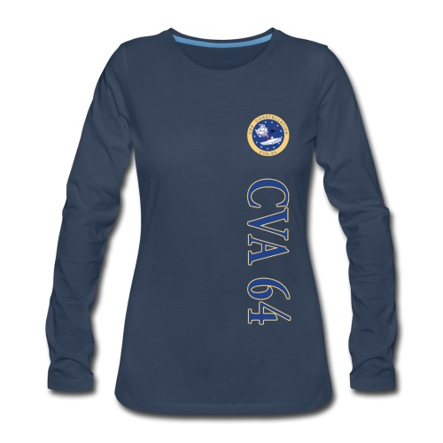 USS CONSTELLATION CVA-64 VERTICAL STRIPE LONG SLEEVE - WOMENS - Women's Premium Long Sleeve T-Shirt