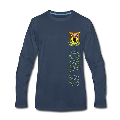 USS FORRESTAL CVA-59 VERTICAL STRIPE LONG SLEEVE - Men's Premium Long Sleeve T-Shirt