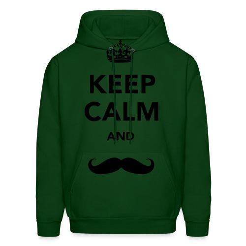 Keep Calm and Mustache: Men's - Men's Hoodie
