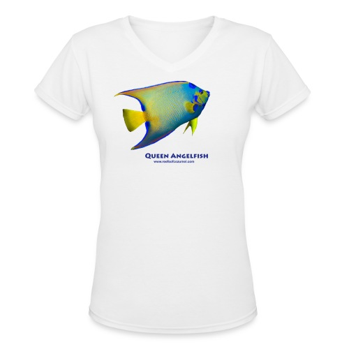 Queen Angelfish - Women's V-Neck T-Shirt