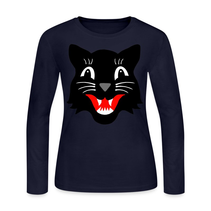 Black Halloween Cat - Women's Long Sleeve Jersey T-Shirt