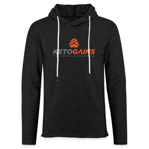 Unisex Lightweight Terry Hoodie - New Logo Ketogains Vertical - Colors - Unisex Lightweight Terry Hoodie