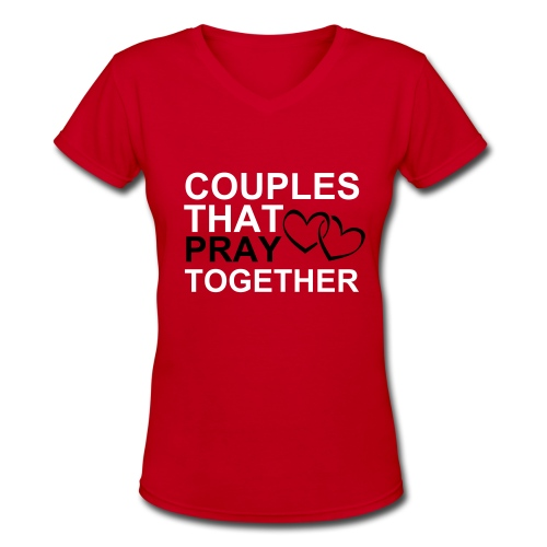 Couples That Pray (Hers) - Red - Women's V-Neck T-Shirt