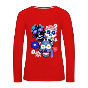 Day Of The Dead-3 Skulls - Women's Premium Long Sleeve T-Shirt