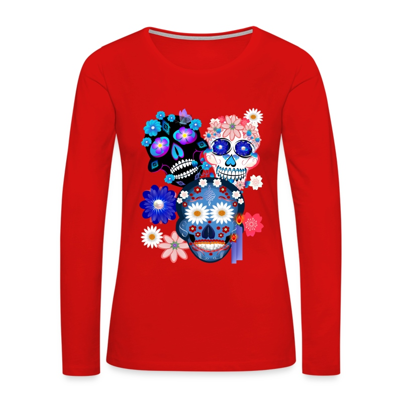 Day Of The Dead-3 Skulls - Women's Premium Long Sleeve T-Shirt