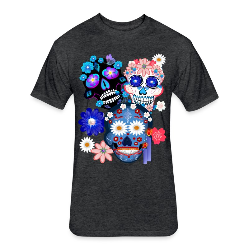 Day Of The Dead-3 Skulls - Fitted Cotton/Poly T-Shirt by Next Level