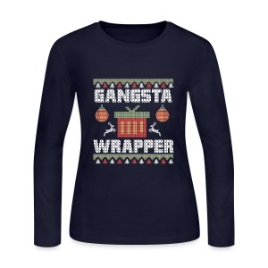Holiday Ugly Christmas Sweater GANGSTA WRAPPER (Women)  - Women's Long Sleeve Jersey T-Shirt
