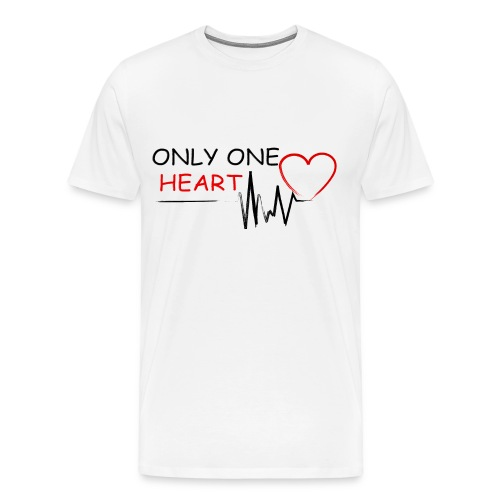 Only One Heart EKG blk/red/wht - Men's Premium T-Shirt