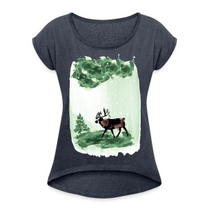 Reindeer in snowy forest Women's Roll Cuff T-Shirt - Women's Roll Cuff T-Shirt