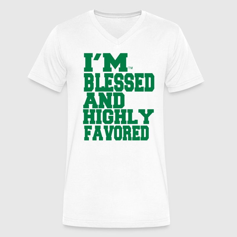 I'M BLESSED AND HIGHLY FAVORED - Men's V-Neck T-Shirt by Canvas