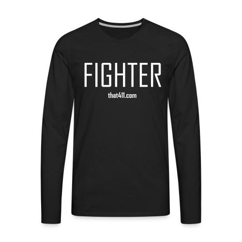 Men's Long Sleeve, Fighter T-shirt. Black w/White Graphic - Men's Premium Long Sleeve T-Shirt