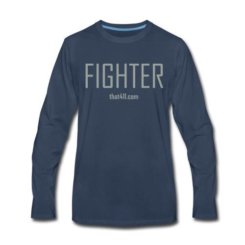Men's, Fighter Long Sleeve T-shirt, Navy Blue w/Light Gray Letters - Men's Premium Long Sleeve T-Shirt
