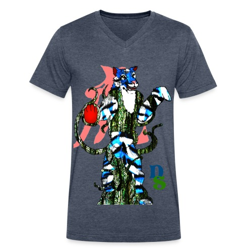 Tiger Zodiac:Sapphire Tiger - Men's V-Neck T-Shirt by Canvas