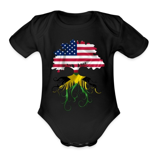 American Grown, Jamaican Roots-Baby - Organic Short Sleeve Baby Bodysuit