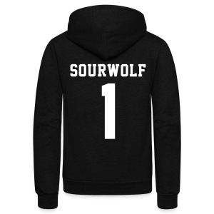 SOURWOLF 1 - Zip-up (S Logo, NBL) - Unisex Fleece Zip Hoodie by American Apparel