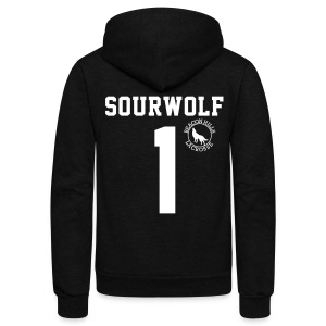 SOURWOLF 1 - Zip-up (S Logo) - Unisex Fleece Zip Hoodie by American Apparel