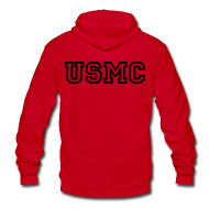 Zip Hoodies & Jackets ~ Unisex Fleece Zip Hoodie by American Apparel ~ USMC Zip Up Hoodie