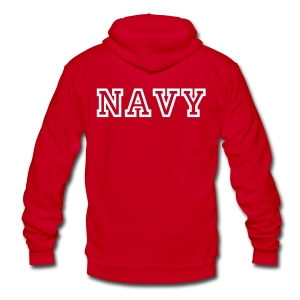 NAVY Zip Up Hoodie - Unisex Fleece Zip Hoodie by American Apparel