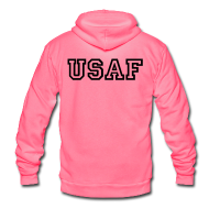 Zip Hoodies & Jackets ~ Unisex Fleece Zip Hoodie by American Apparel ~ USAF Zip Up Hoodie